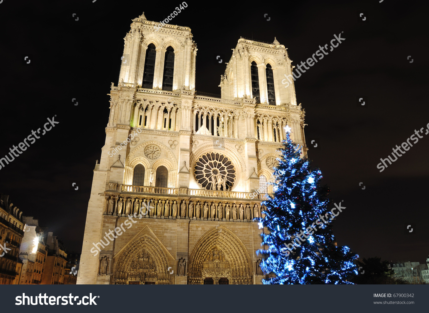 Notre Dame Cathedral Christmas Tree Paris Stock Photo (Edit Now ...