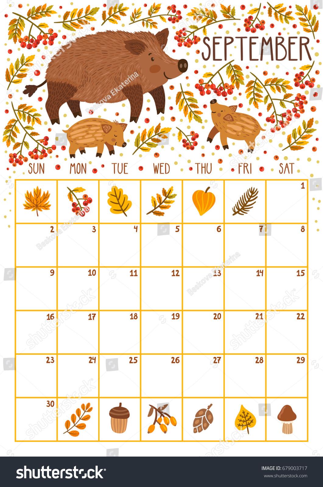 Weekly Calendar Cartoon : Vector monthly calendar cute wild boars stock
