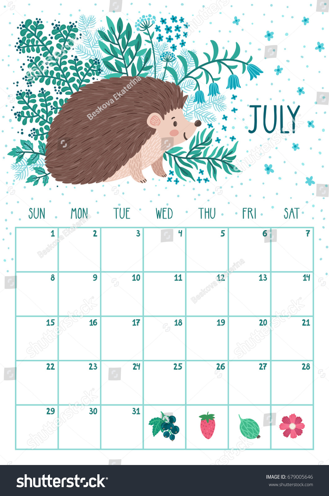 Vector Monthly Calendar Cute Hedgehog July Stock Vector