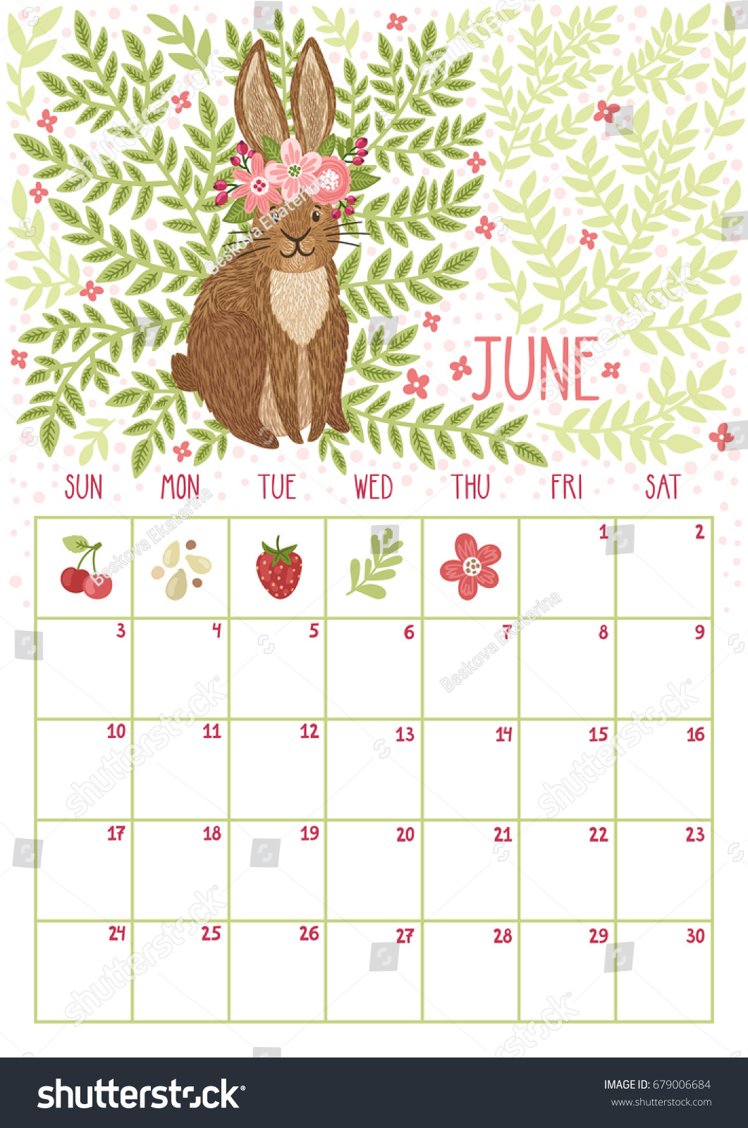 Calendar Pages Vector : Vector monthly calendar cute rabbit june stock
