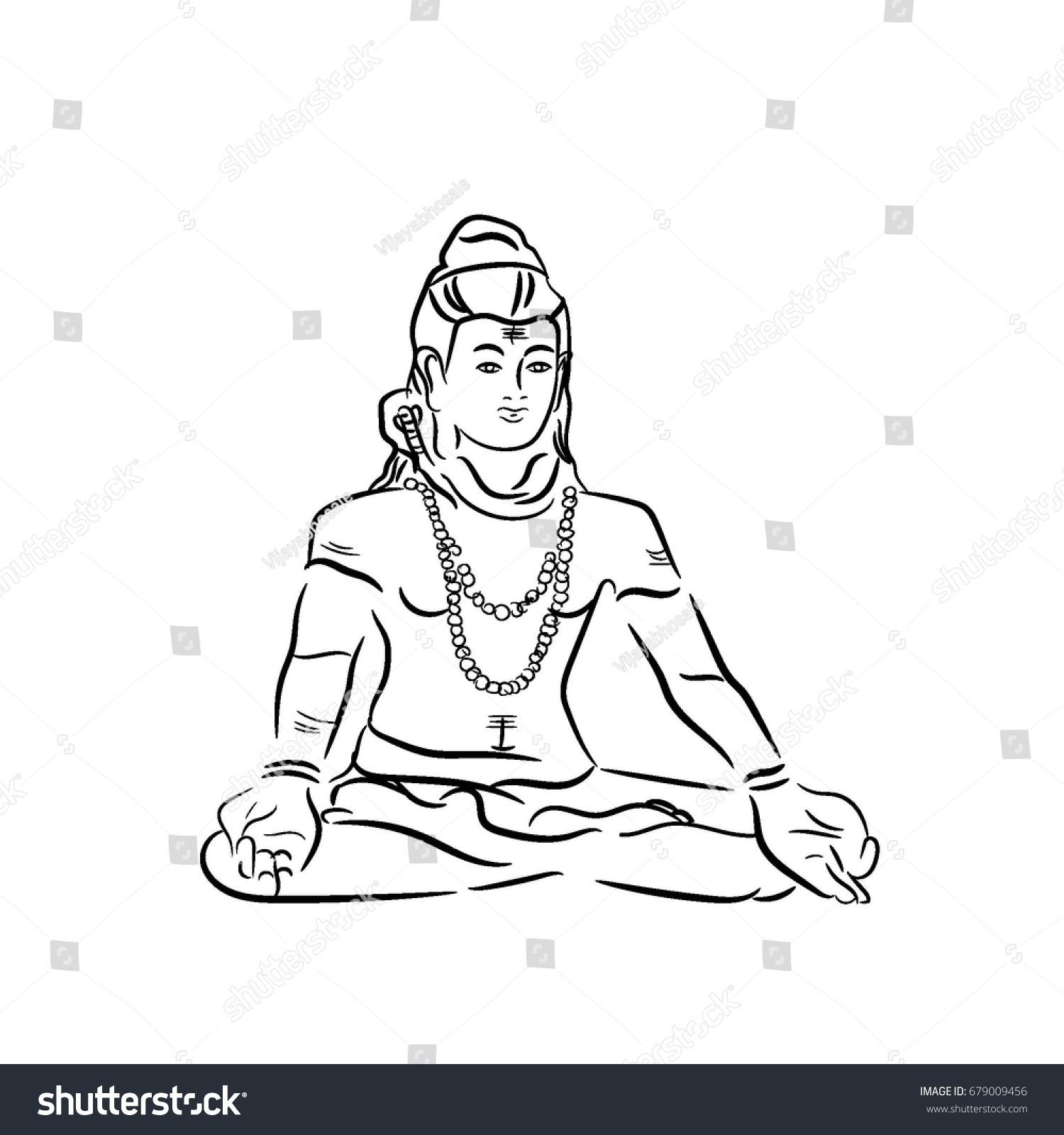 Hindu god shiva hand drawn sketch vector illustration