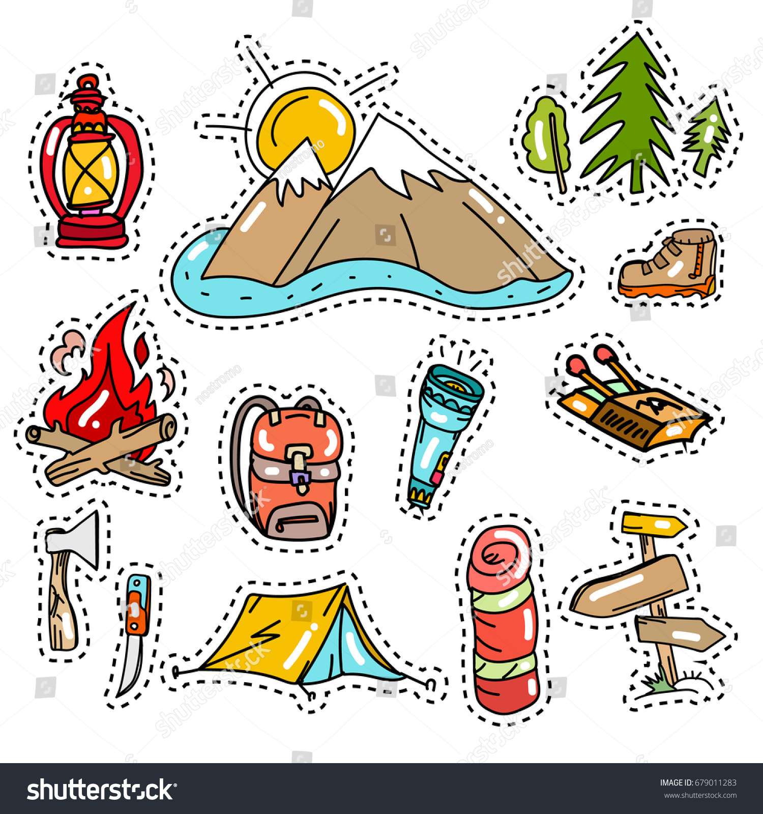 Camping Vector Elements Camping Stickers Pop Stock Vector Royalty