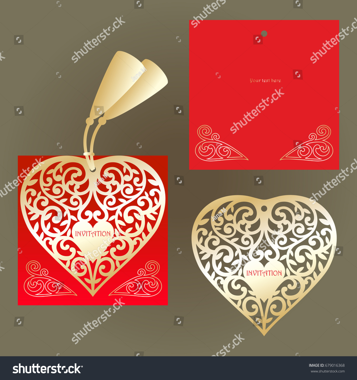 Red Invitation Cutout Golden Heart Wedding Stock Vector (Royalty ...