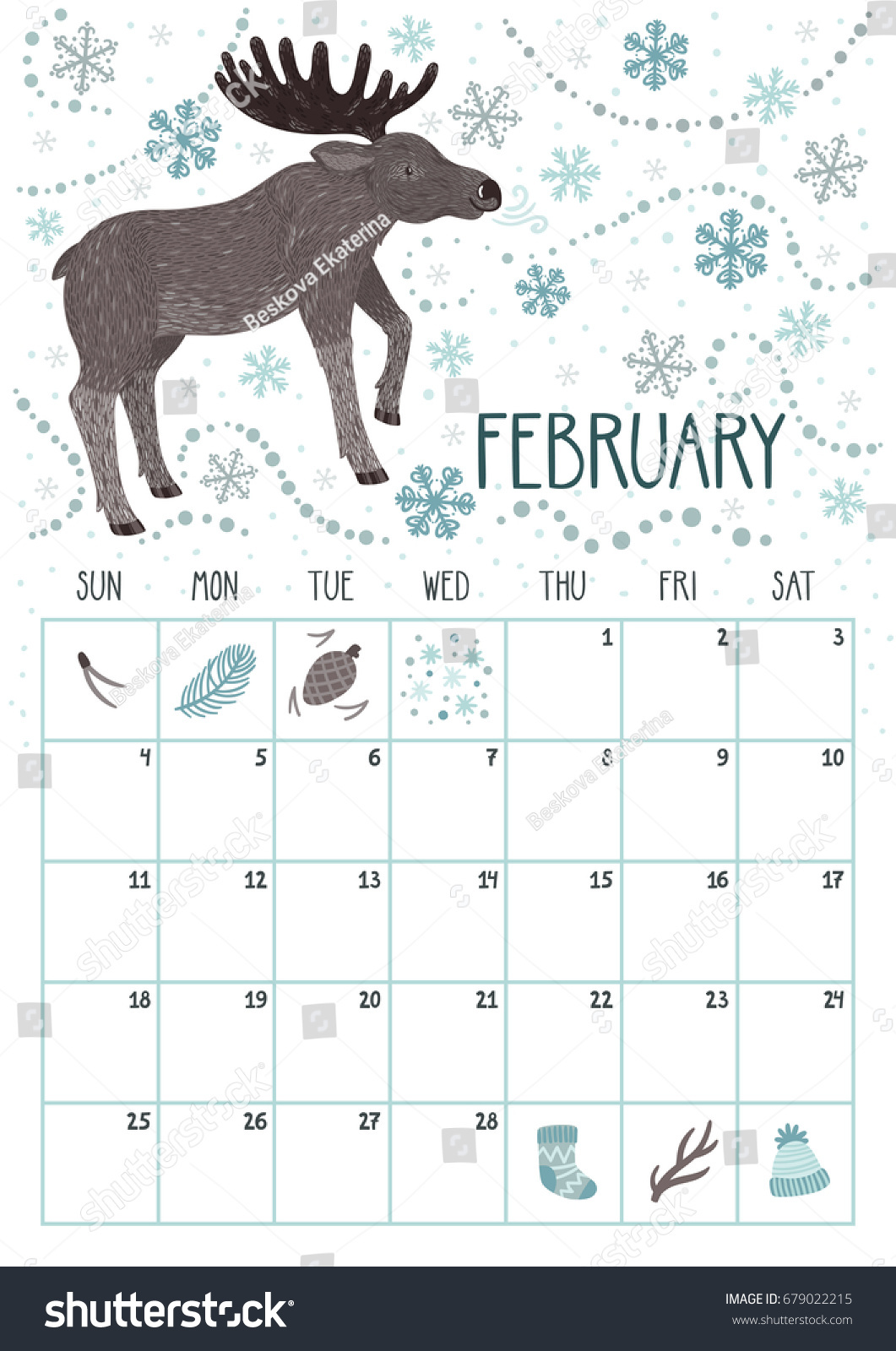 Vector Monthly Calendar Cute Elk February Stock Vector 679022215 ...