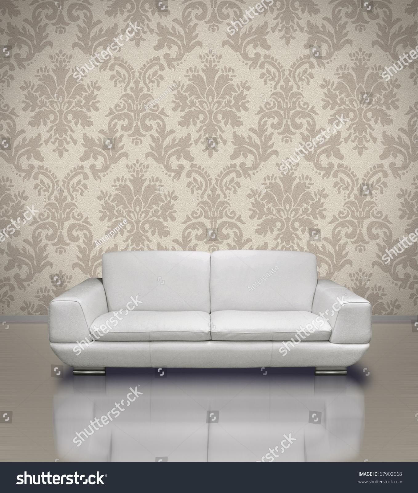 Modern White Leather Sofa Light Damask Stock Illustration