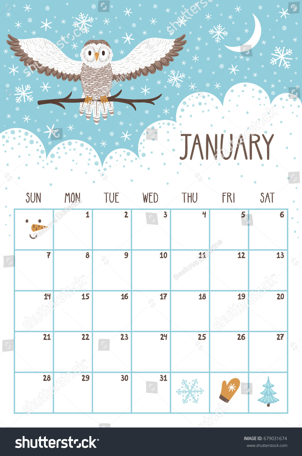 Vector Monthly Calendar Cute Owl January Stock Vector 679031674 ...
