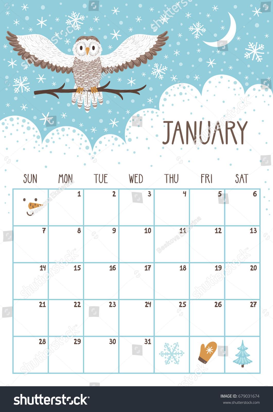 Vector Monthly Calendar Cute Owl January Stock Vector