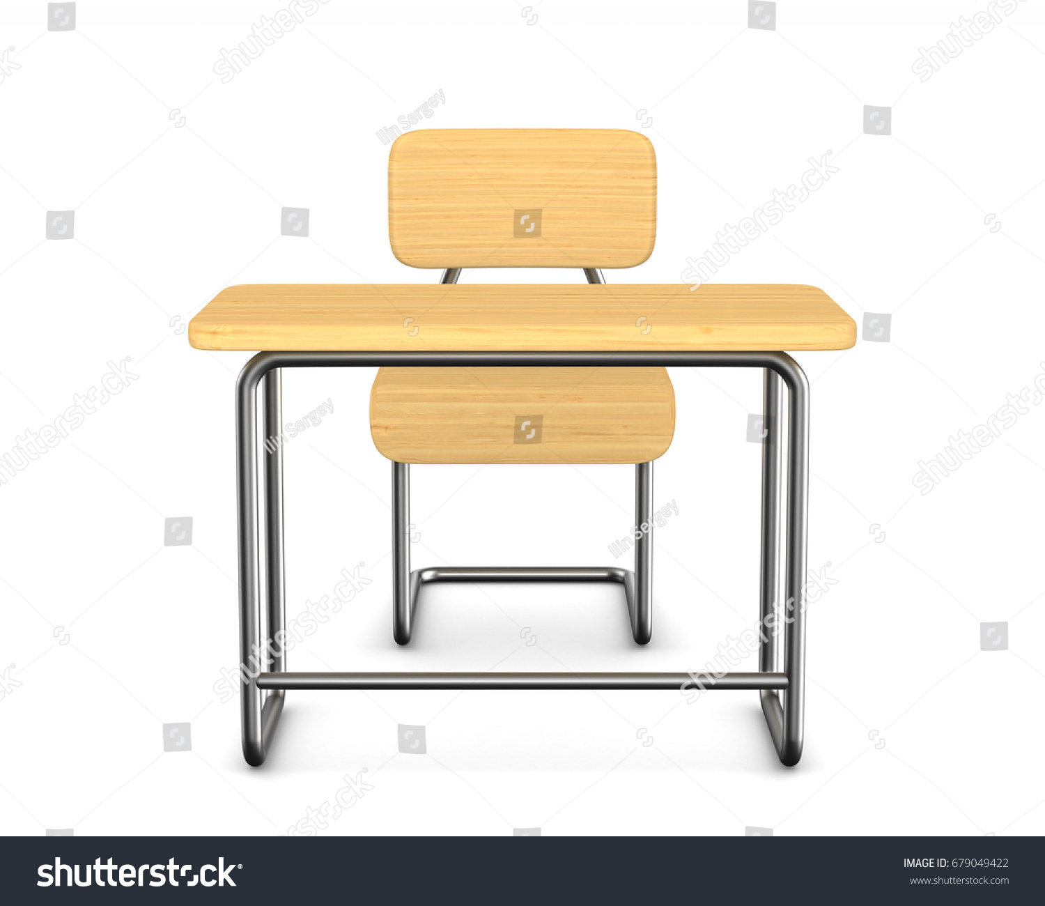 School Desk Chair White Background Stock Illustration
