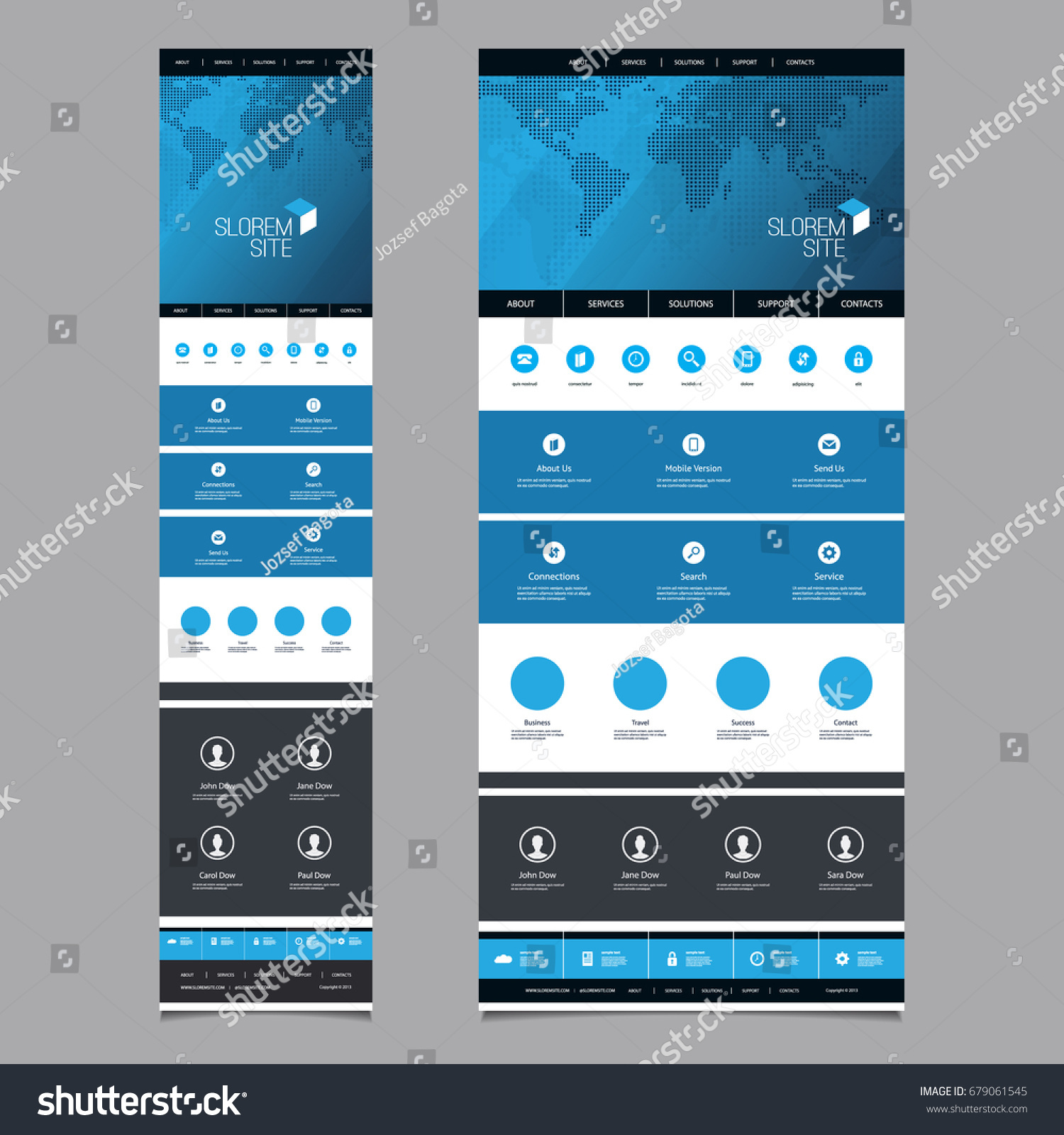 Responsive one page website template header vectores en stock responsive one page website template header design with world map desktop and mobile version gumiabroncs Choice Image