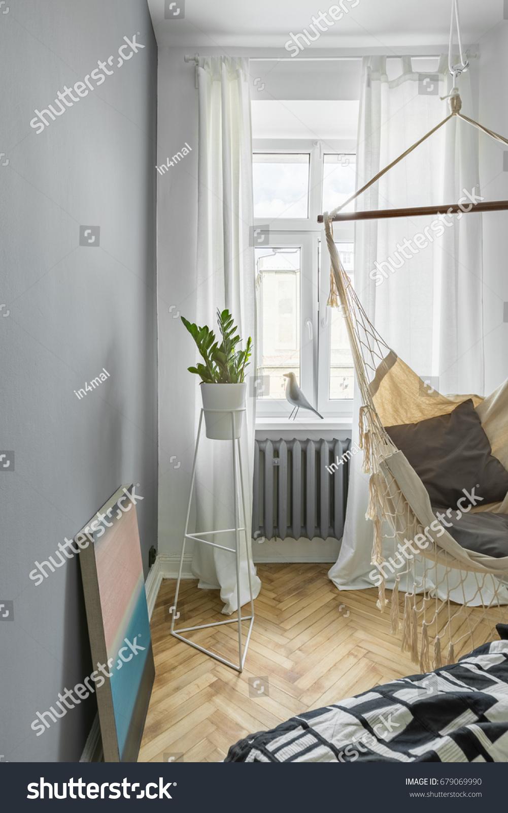 gray bedroom with diy hammock bed and window gray bedroom diy hammock bed window stock photo 679069990      rh   shutterstock