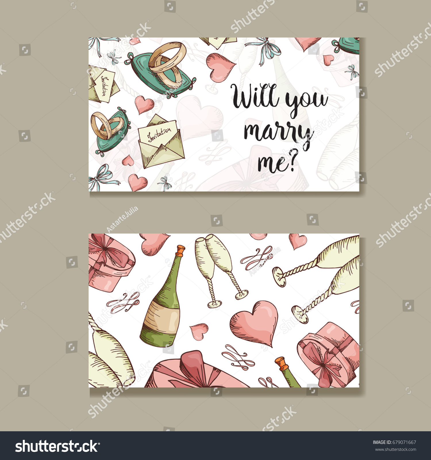 Set Wedding Invitations Wedding Cards Template Stock Vector ...