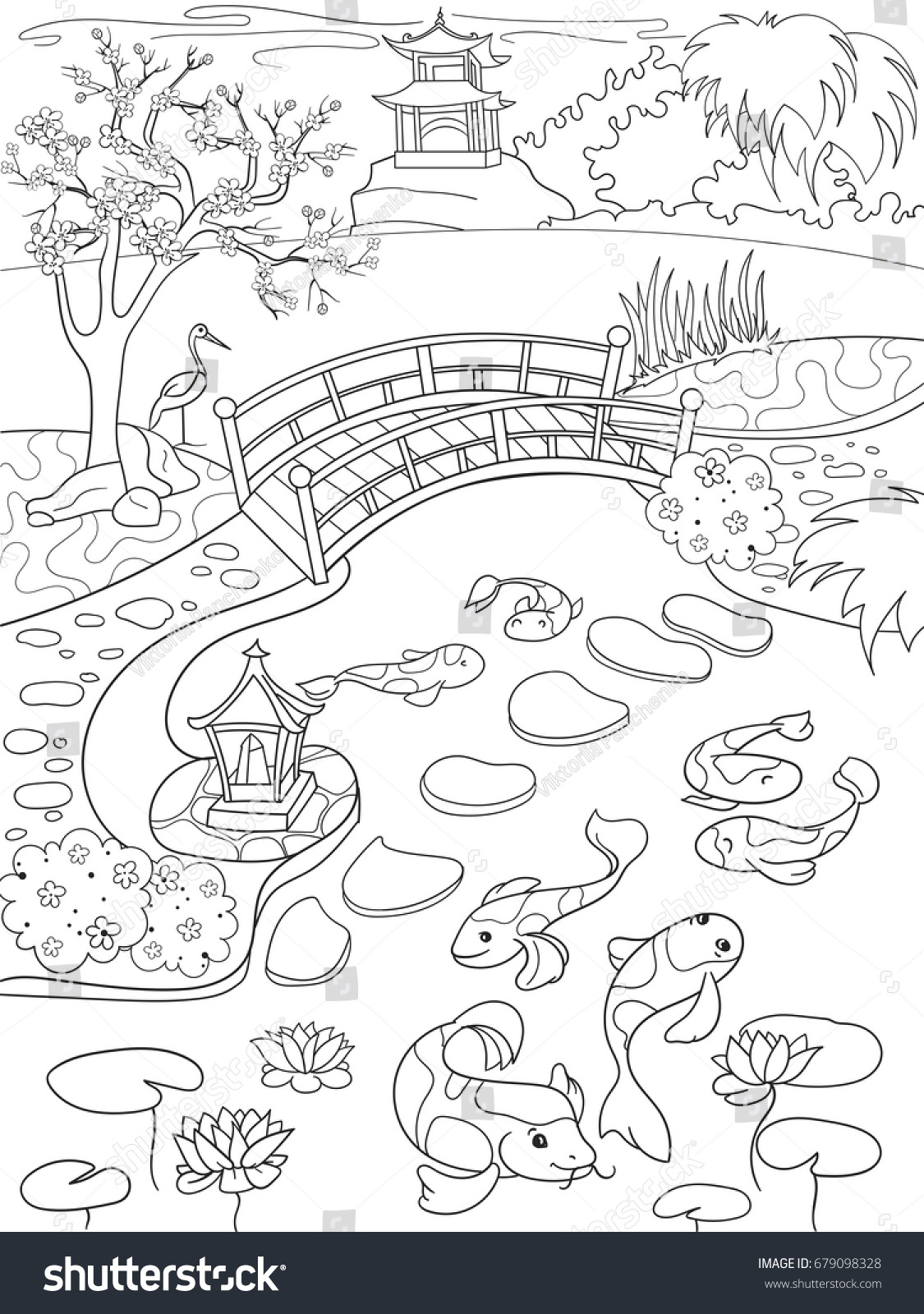 Nature Of Japan Coloring Book For Children Cartoon Japanese Garden Raster Illustration Zentangle Style