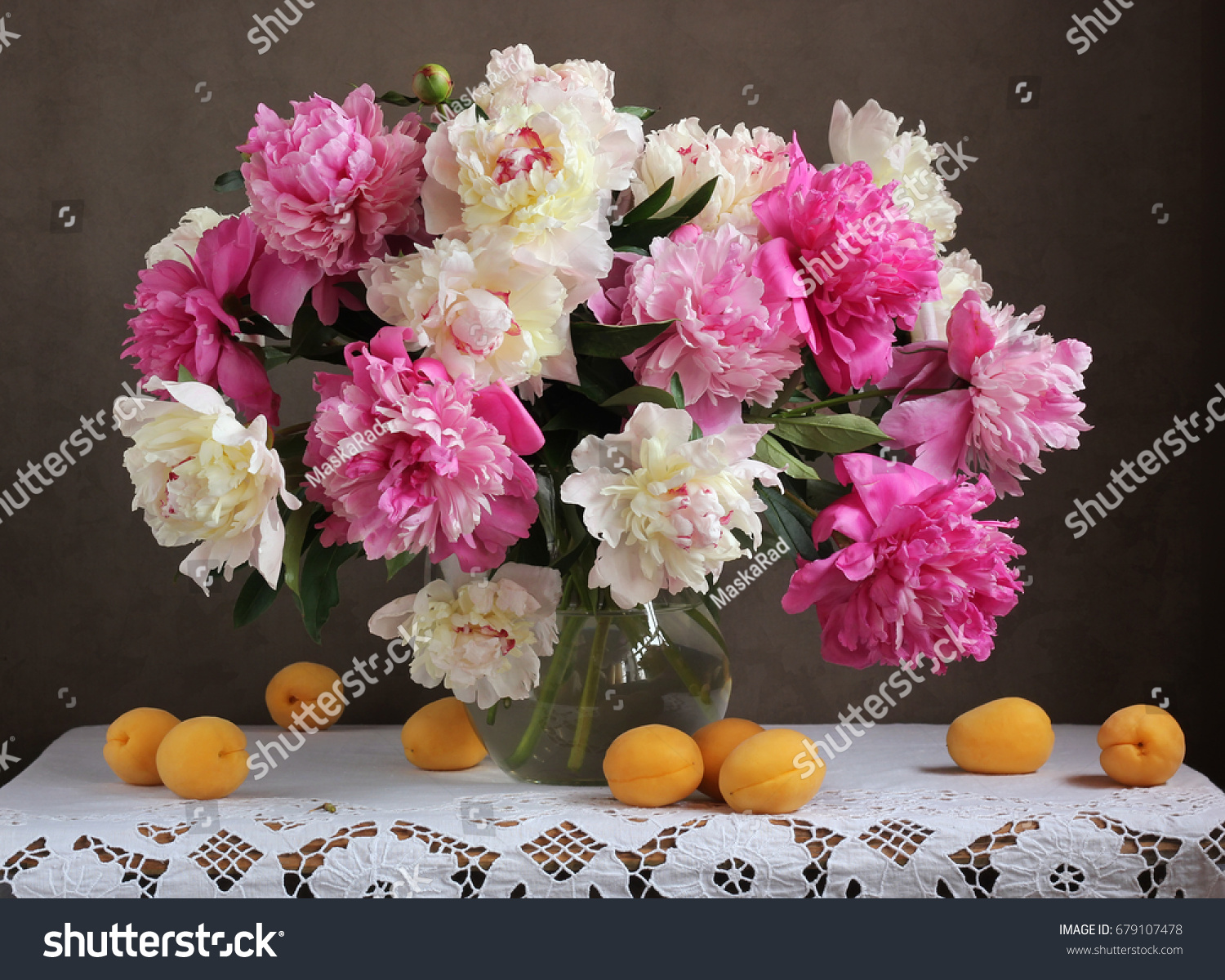 Pink White Peonies Flowers Vase Apricots Stock Photo Edit Now