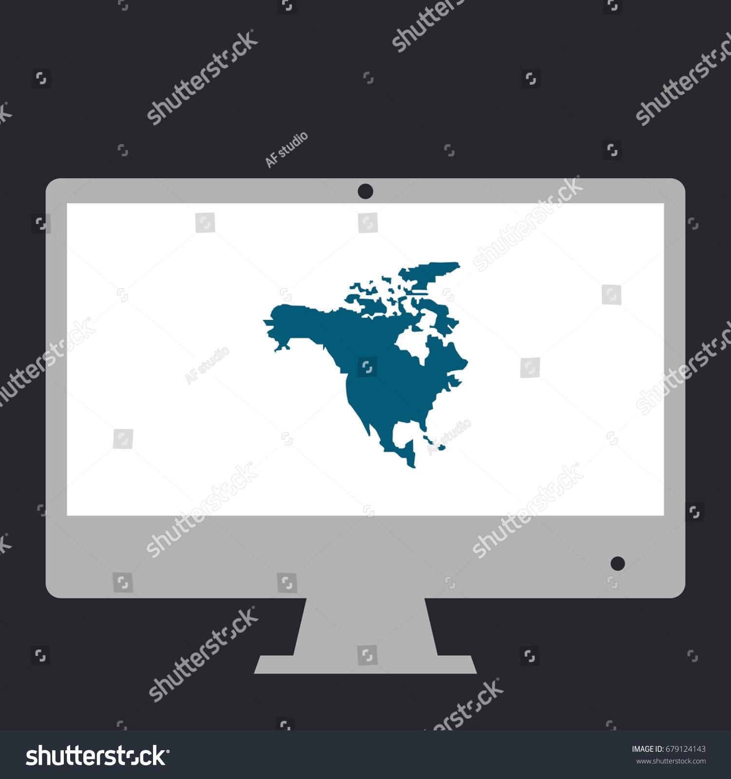 North america map simple flat symbol stock vector 679124143 north america map simple flat symbol icon on monitor vector illustration pictogram sciox Gallery