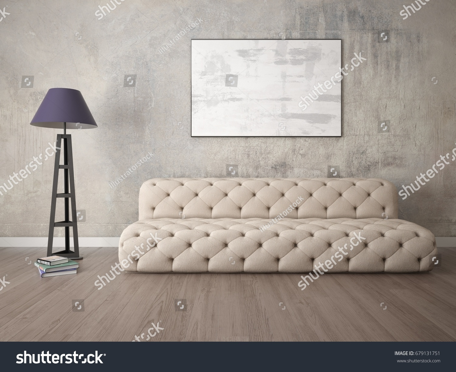 exclusive living room furniture. Mock up an exclusive living room with a fashionable sofa and classic  floor lamp Exclusive Living Room Fashionable Sofa Stock Illustration