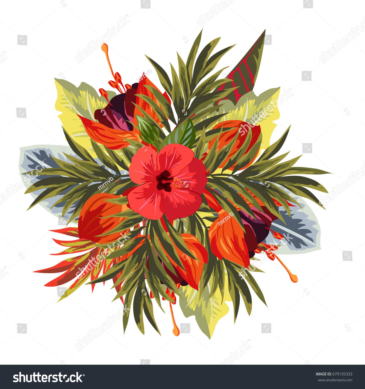 Bouquet of hibiscus, fuchsia and palm leaves. Decor elements for ...