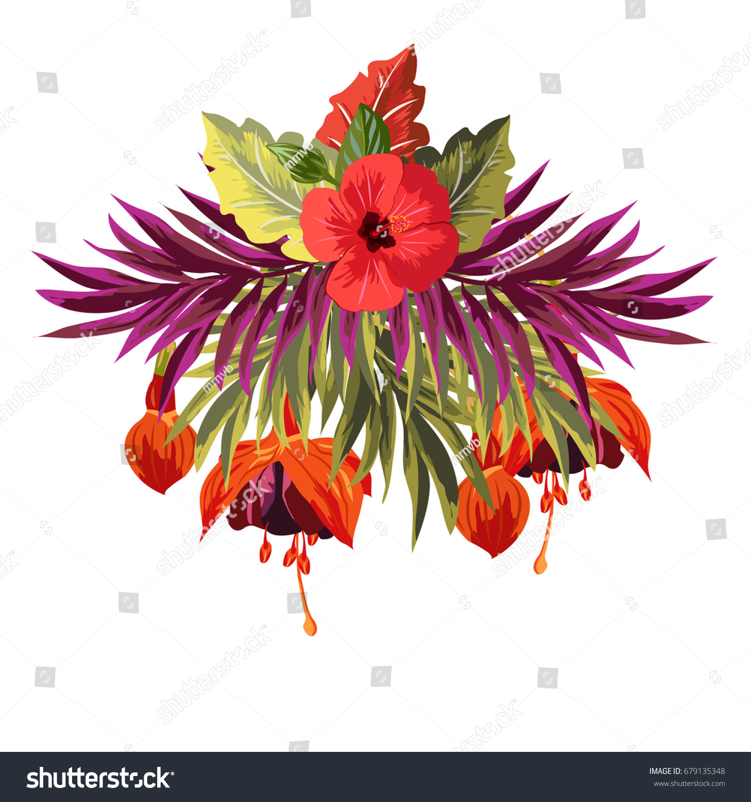 Bouquet Hibiscus Fuchsia Palm Leaves Decor Stock Vector (Royalty ...