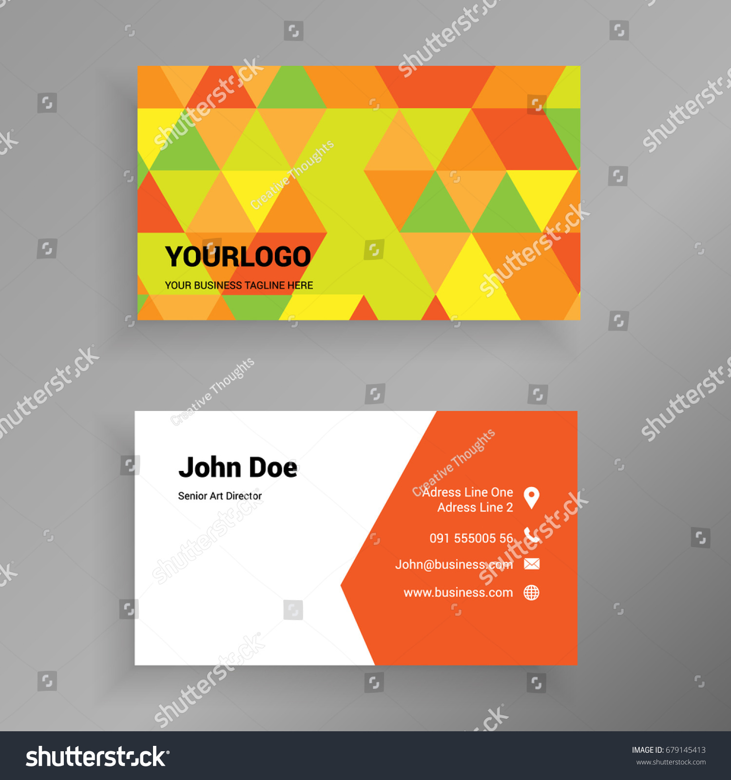 yellow orange polygonal vector modern creative stock vector