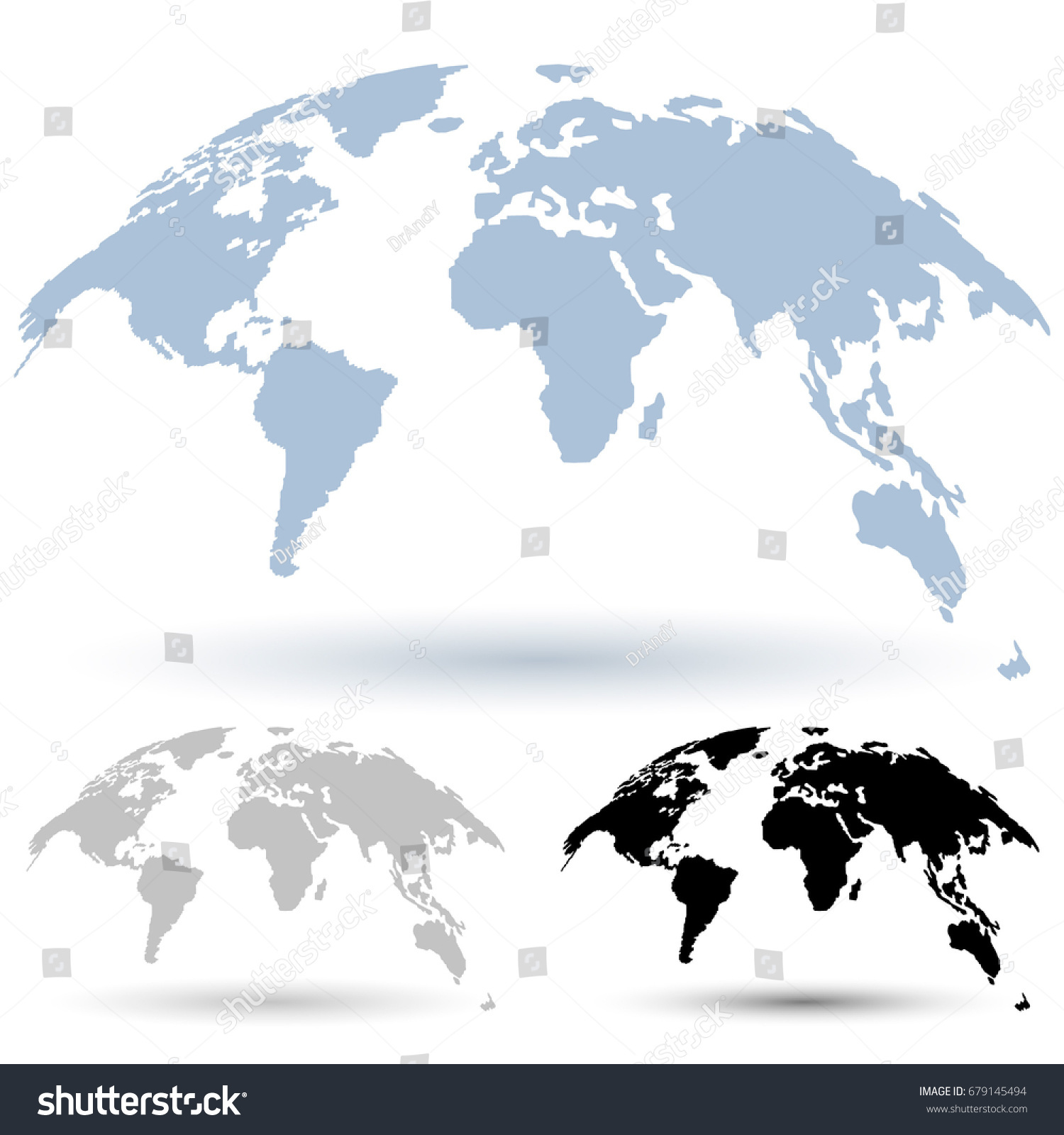 3 d globe map isolated on white vector de stock679145494 shutterstock 3d globe map isolated on white background curved in special style 3d vector set gumiabroncs Gallery