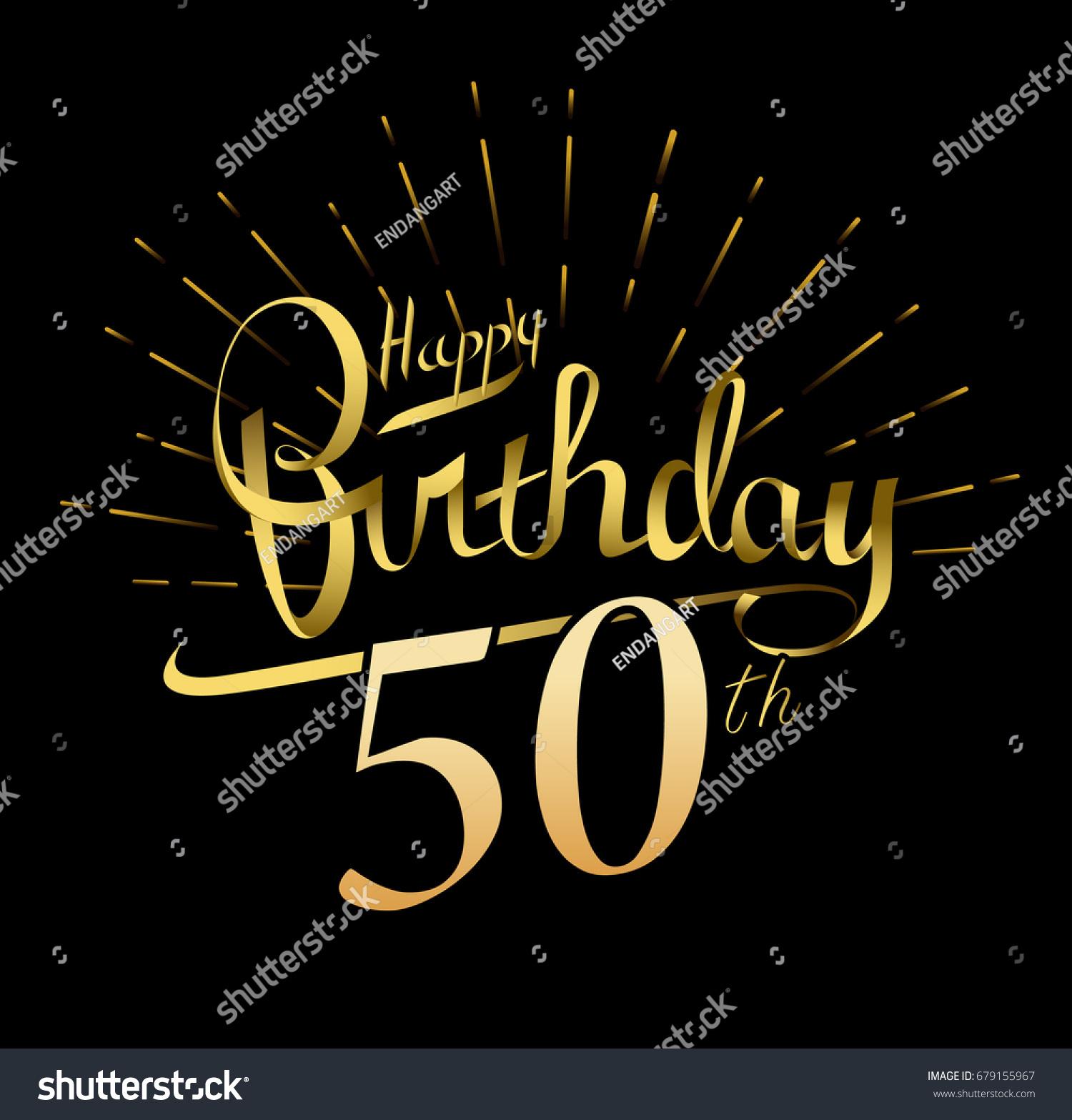 50th Happy Birthday Logo Beautiful Greeting Stock Vector