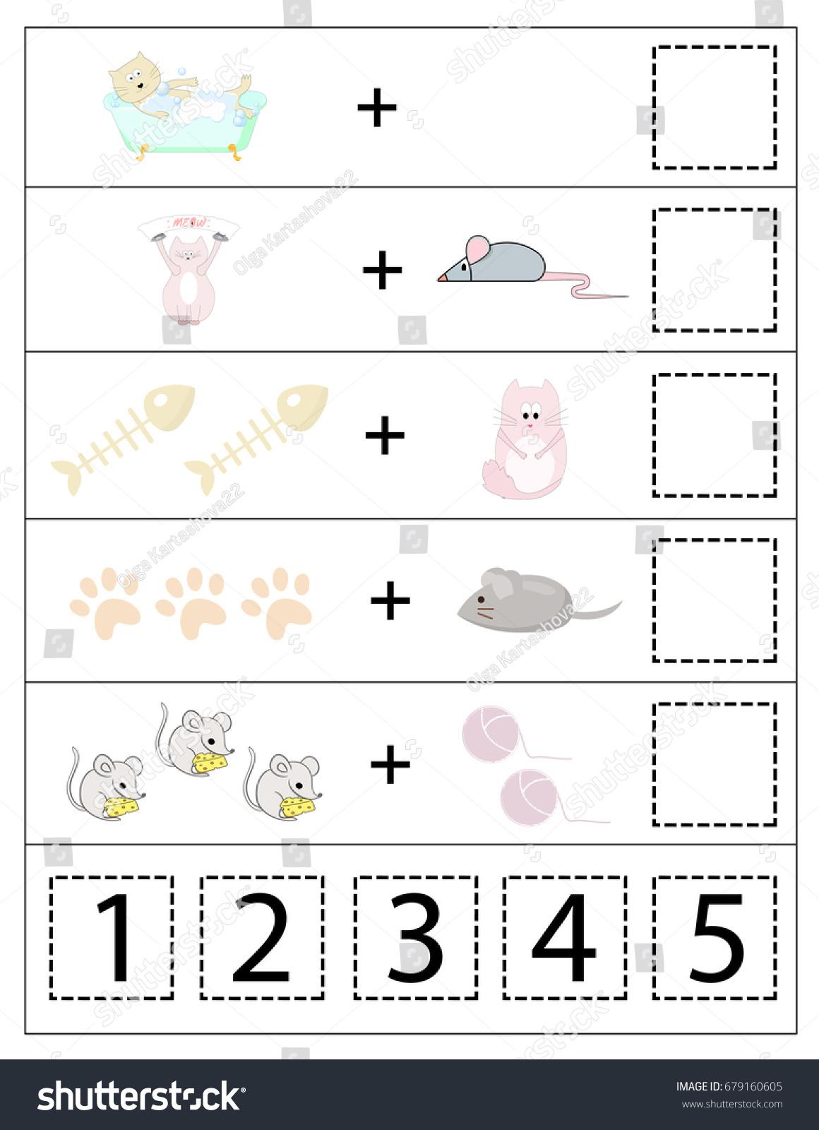 Math Kids Game Cats Educational Children Stock Photo (Photo, Vector ...