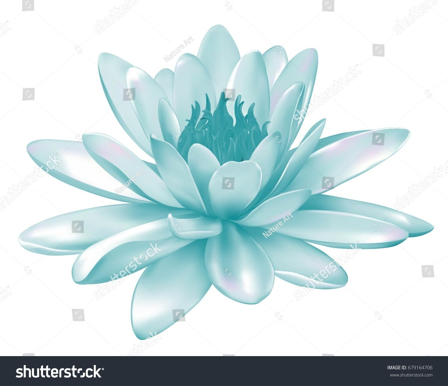 Vector Realistic Illustration Pastel Blue Turquoise Stock Vector