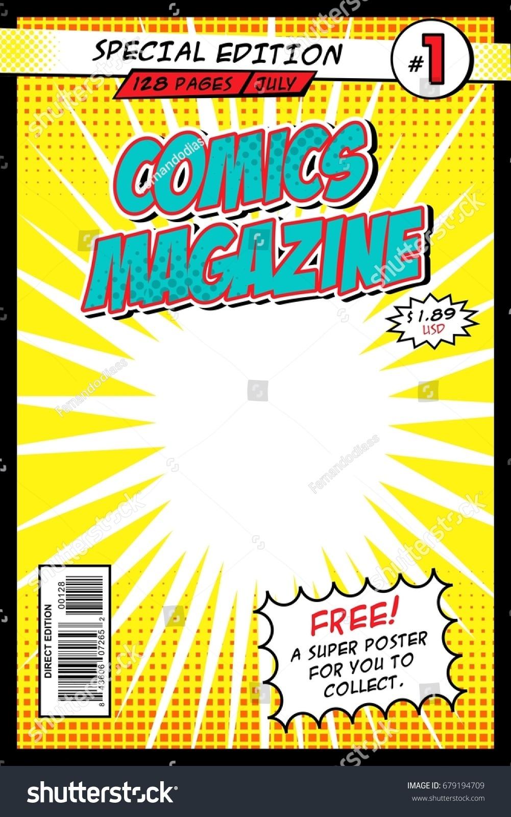 Comic Book Cover Template Vector Illustration Stock Vector 679194709 ...