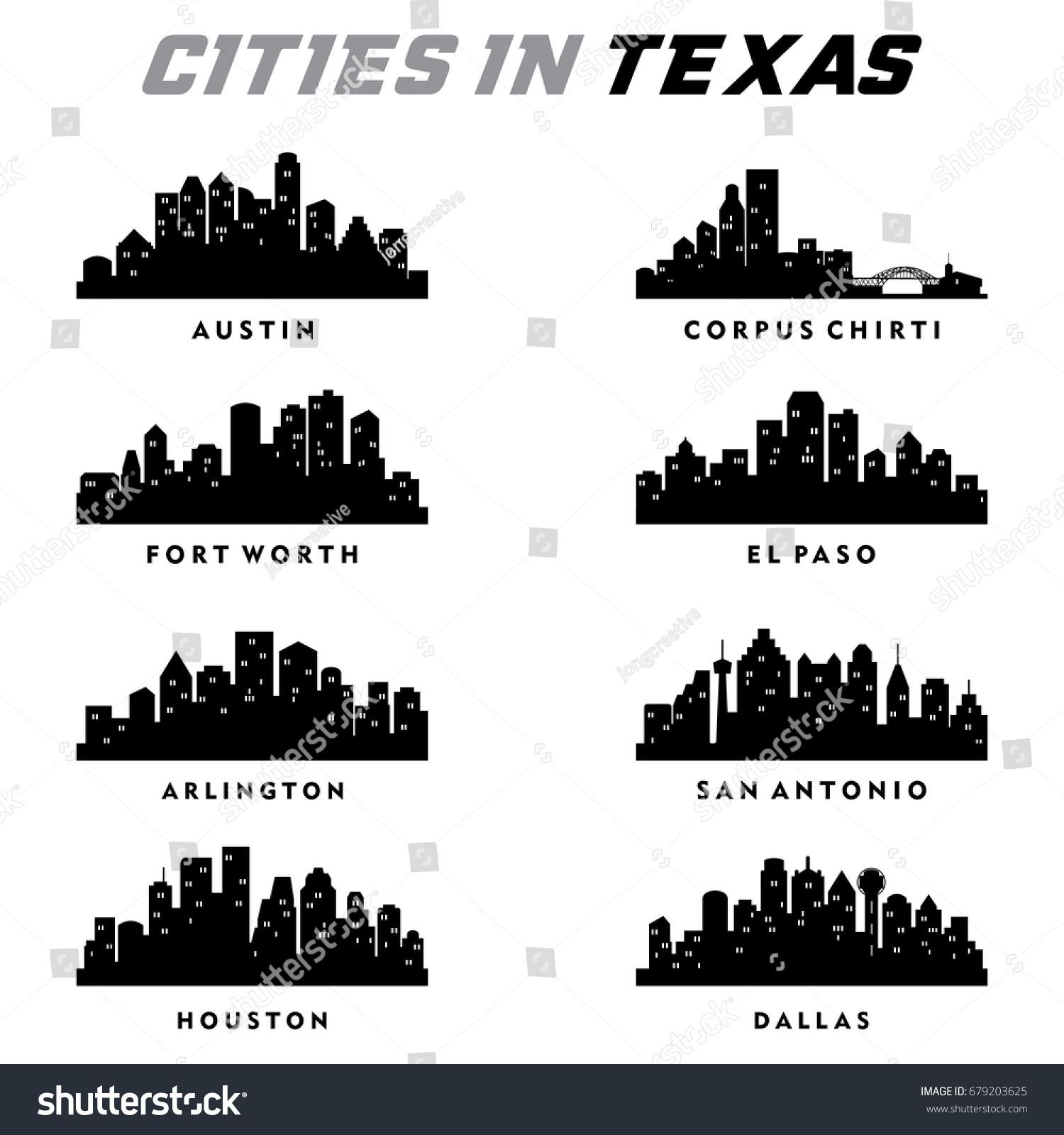 texas cities silhouette city skyline cityscape