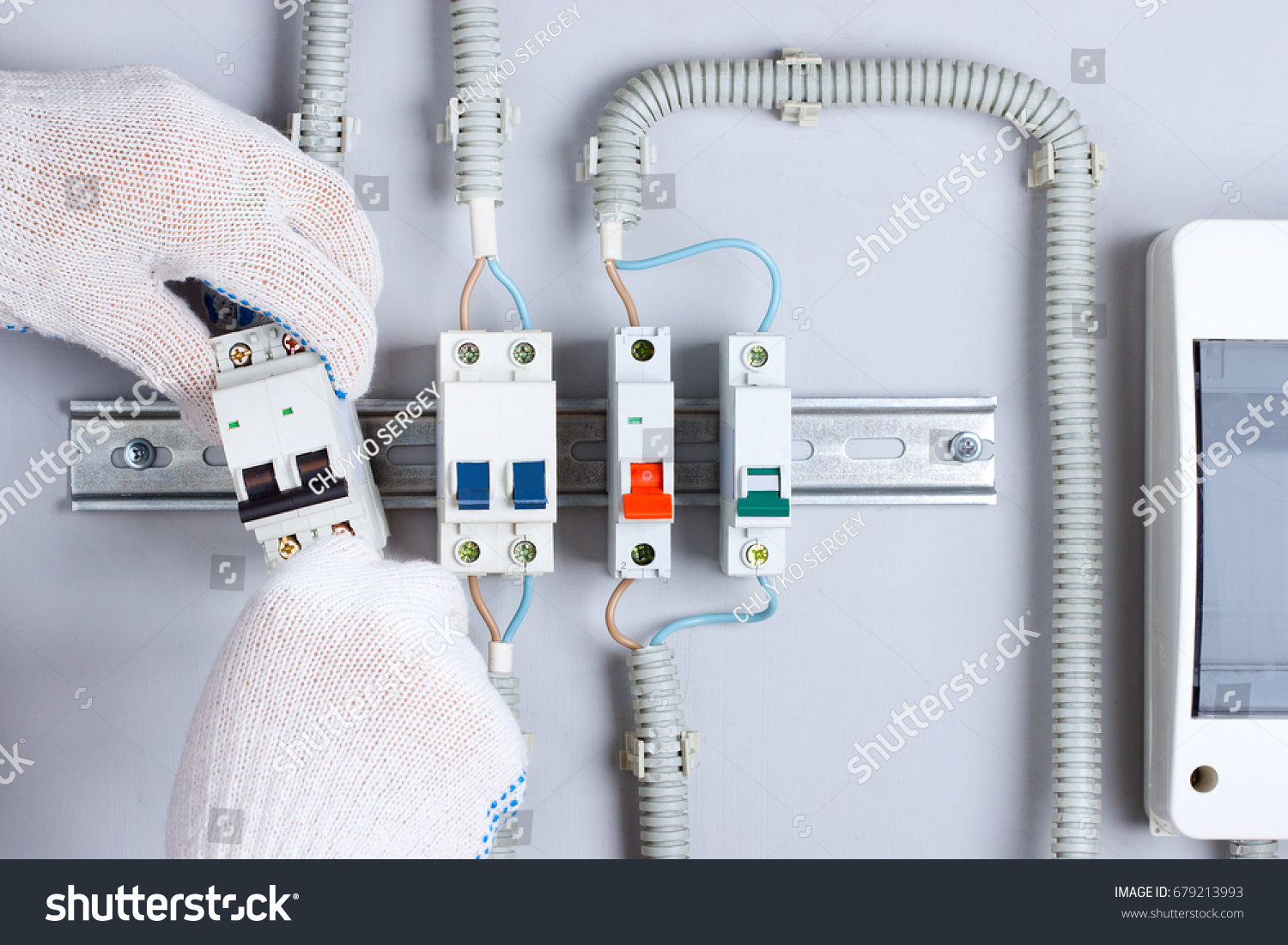 Hands Electrician Switches Fuse Box Stock Photo Edit Now 679213993 Electrical Of With In