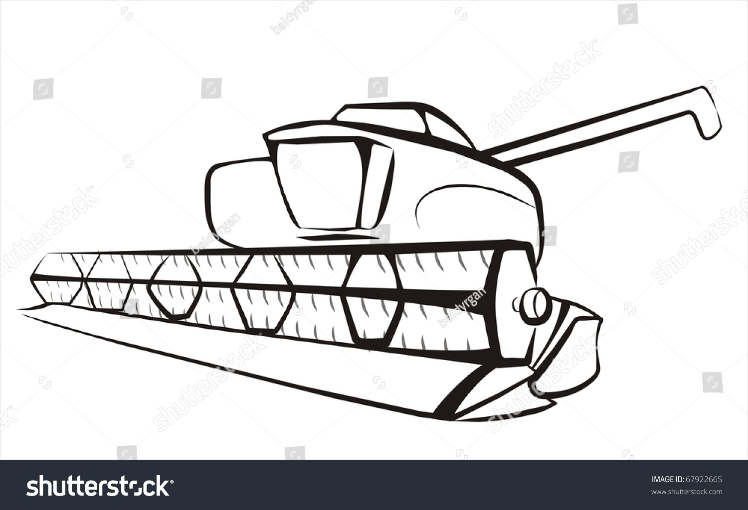 Combine Harvester Isolated Sketch Black Lines Stock Vector 67922665 Shutterstock