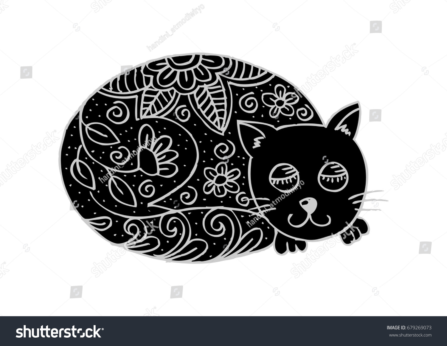 Doodle Funny Cat With Floral