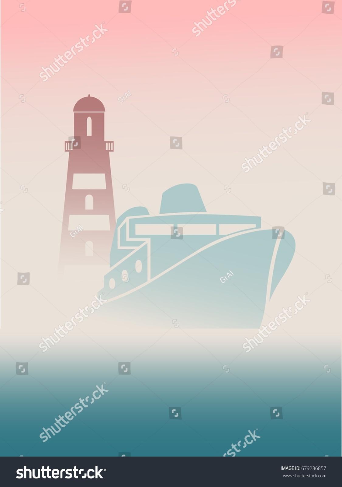 Large Transoceanic Cruise Ship Lighthouse Silhouettes Stock ...