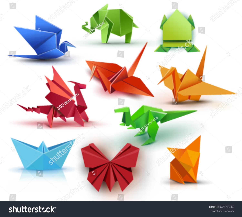 Set Origami Butterfly Crane Frog Elephant Stock Vector ... - photo#34