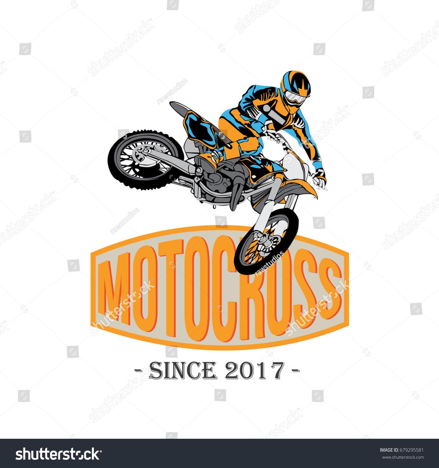 Vintage Motocross Rider Badge Logo Design Stock Vector Royalty Free 679295581