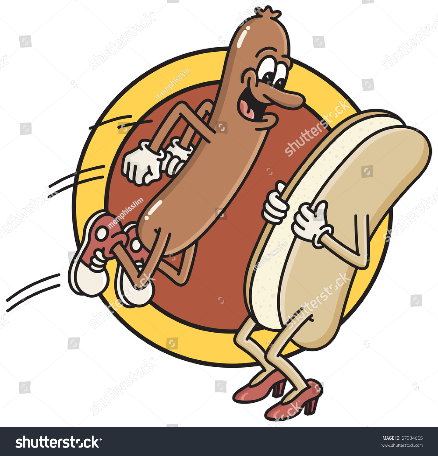 Smiling Hot Dog Jumps Into Waiting Stock Vector 67934665 - Shutterstock-9216