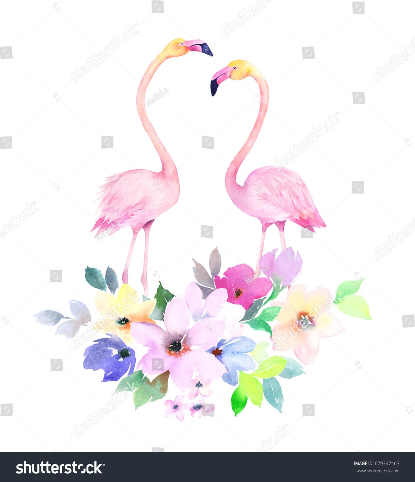 Couple Pink Flamingos Bouquet Flowers Watercolor Stock
