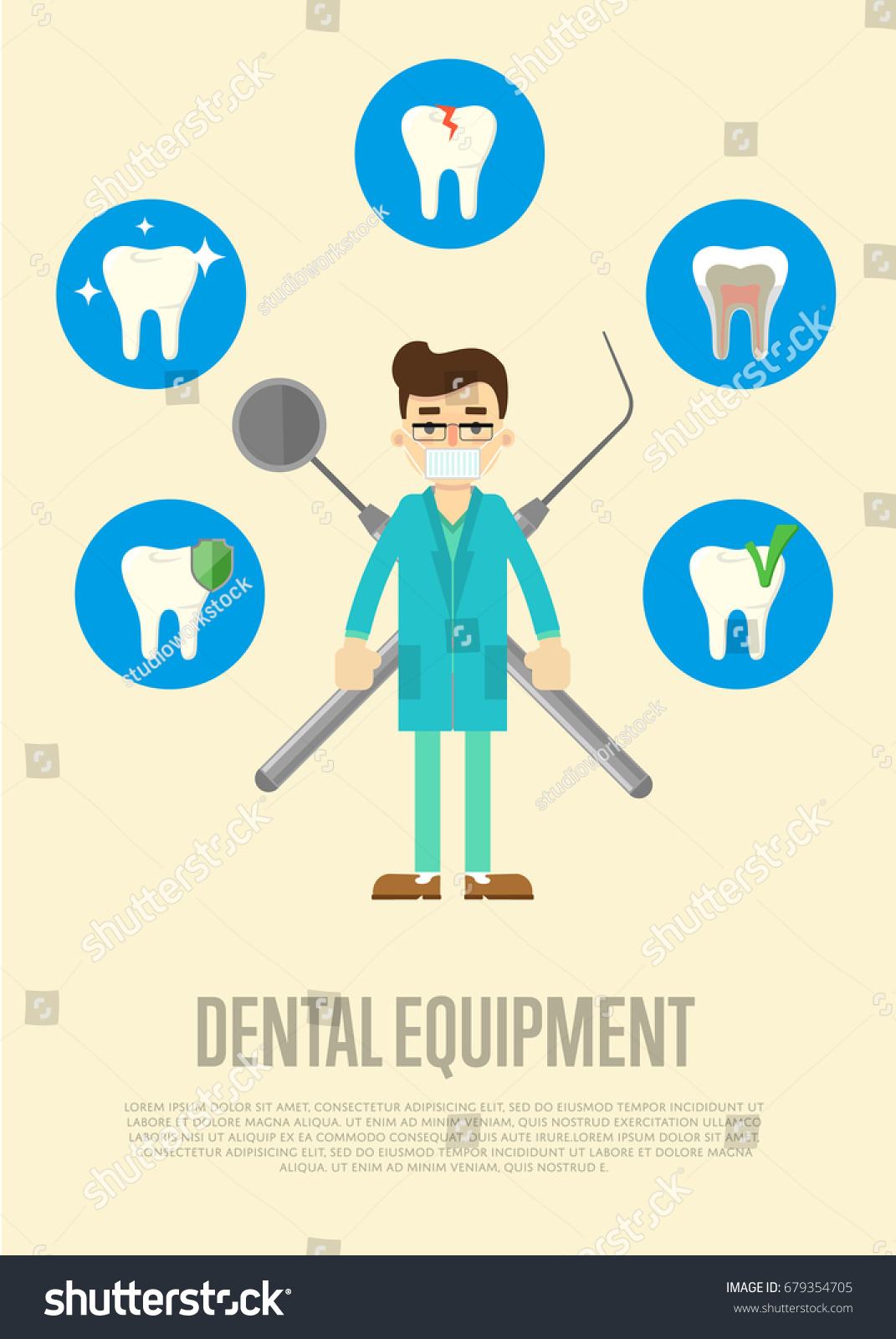 Dental Equipment Banner With Male Dentist In Medical Uniform Standing On White Background Instruments Crosswise
