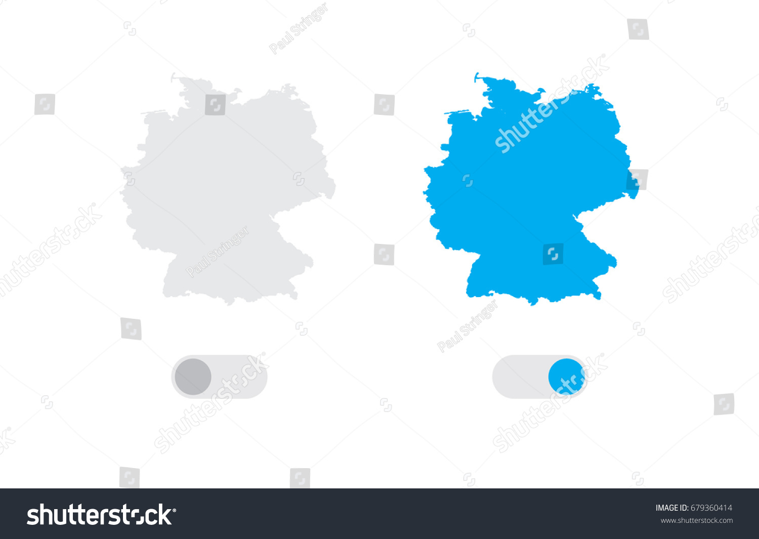 Active Inactive Illustrated Country Shape Germany Stock Vector - Germany map shape