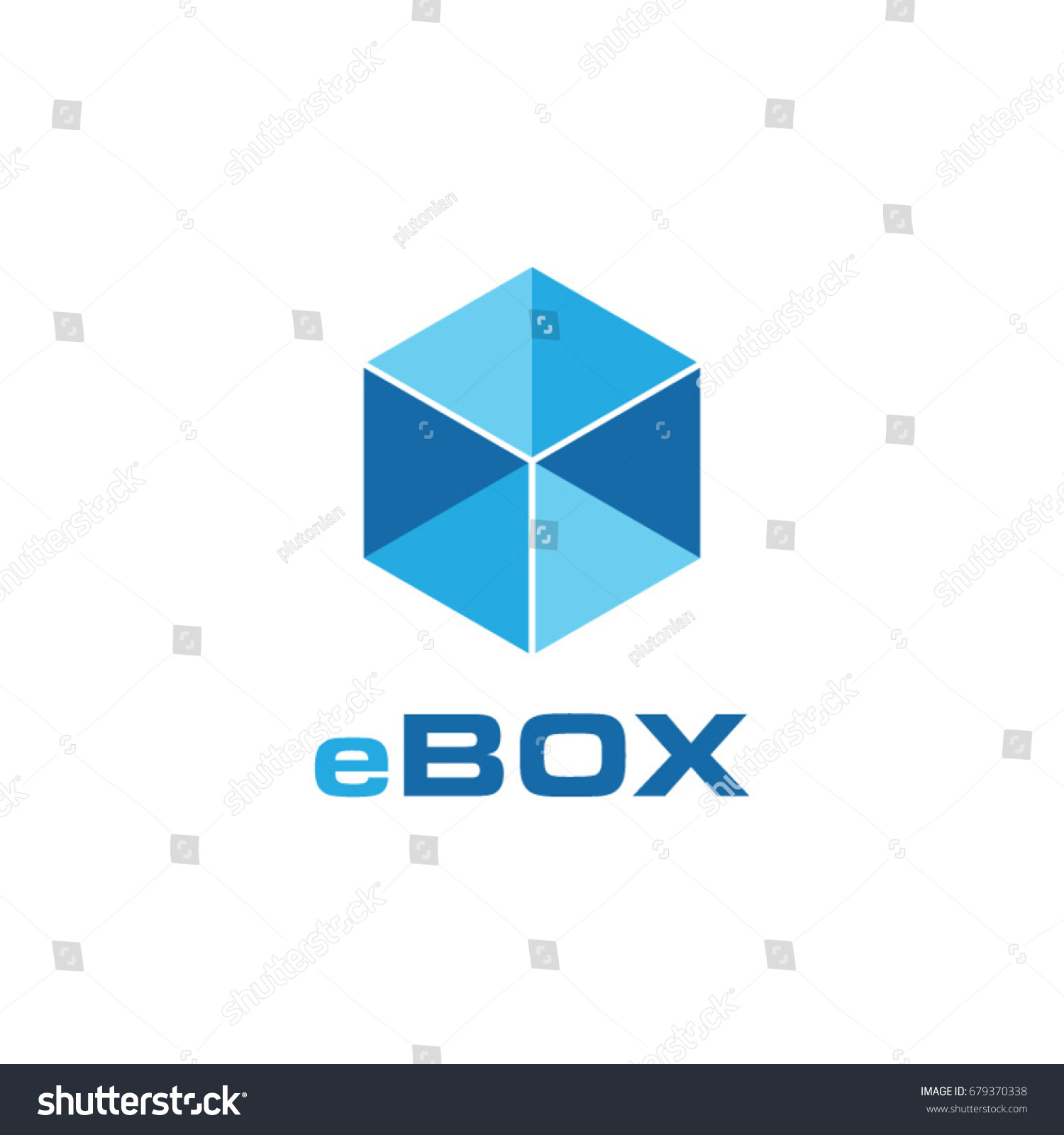 Abstract Transparent Blue Box Logo Symbol Stock Vector 679370338
