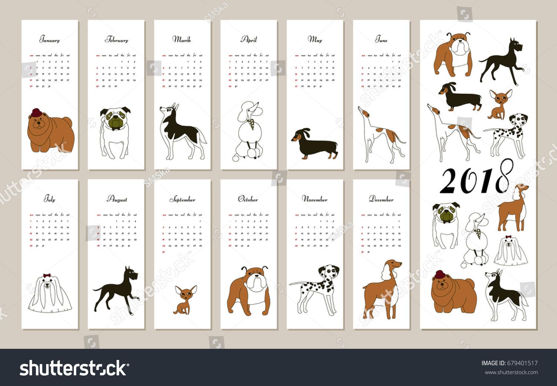 Creative Calendar Template : Monthly creative calendar dog breeds stock vector