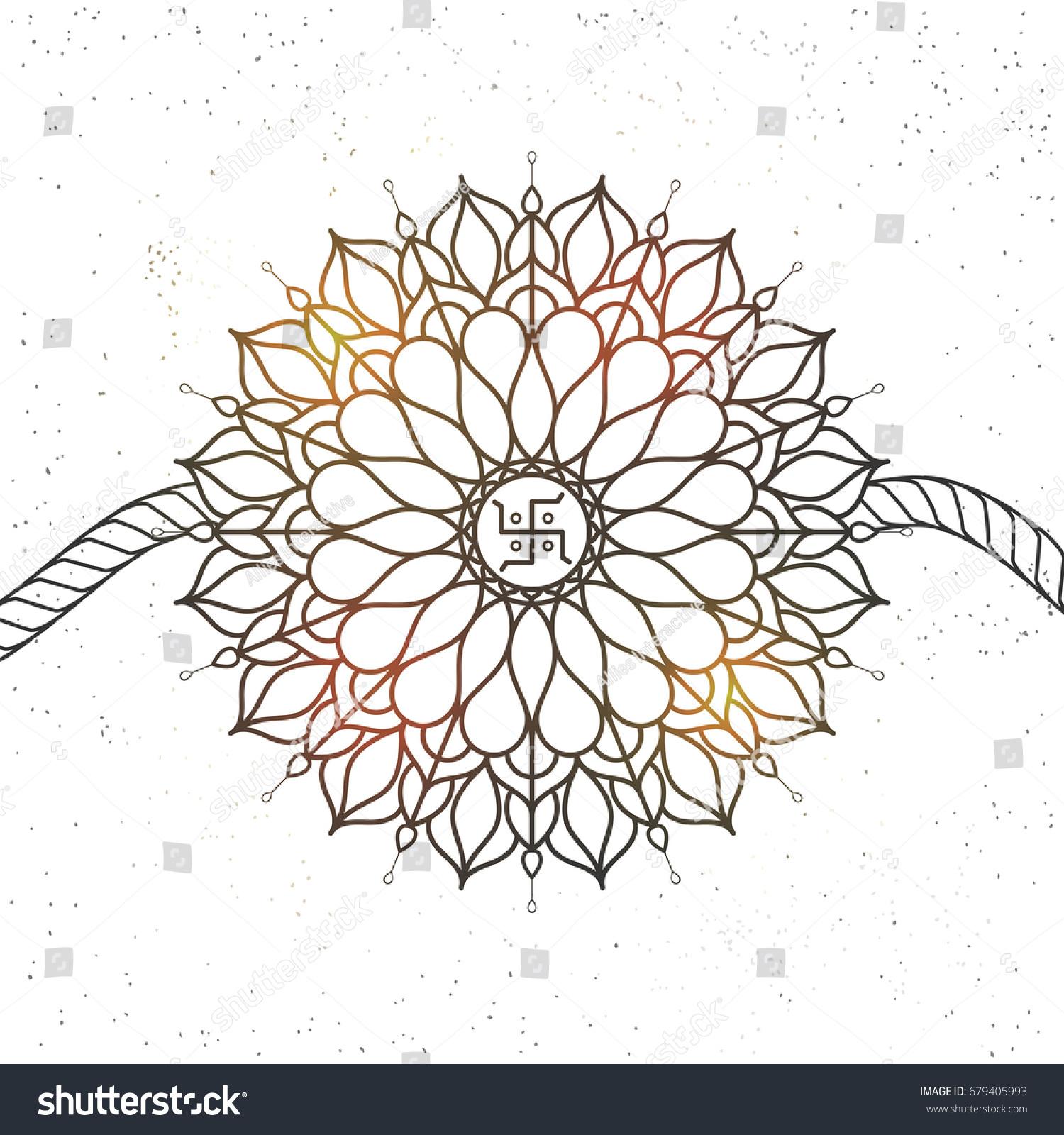 Hand Drawn Shiny Decorative Rakhi Swastika Stock Vector Royalty