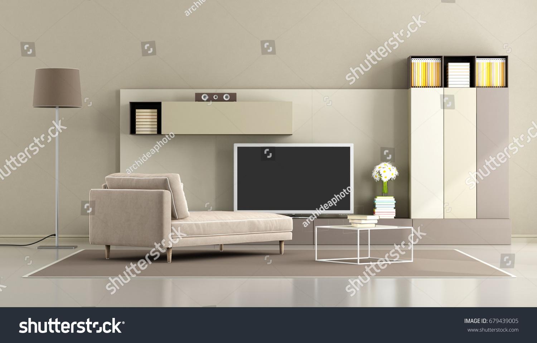 Modern Living Room Chaise Lounge Tv Stock Illustration 679439005