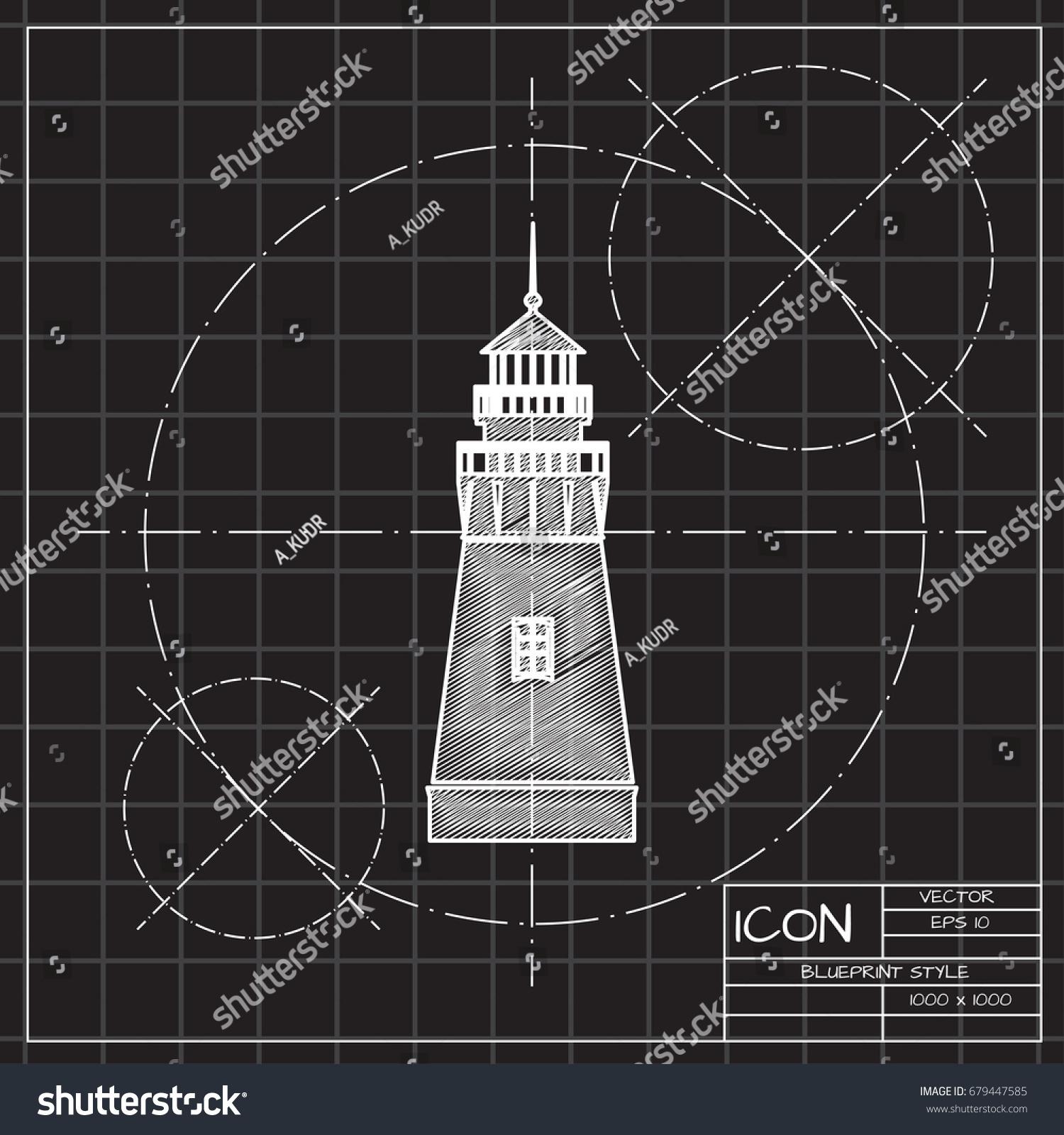 Vector blueprint lighthouse icon on engineer stock vector 679447585 vector blueprint lighthouse icon on engineer and architect background malvernweather Images
