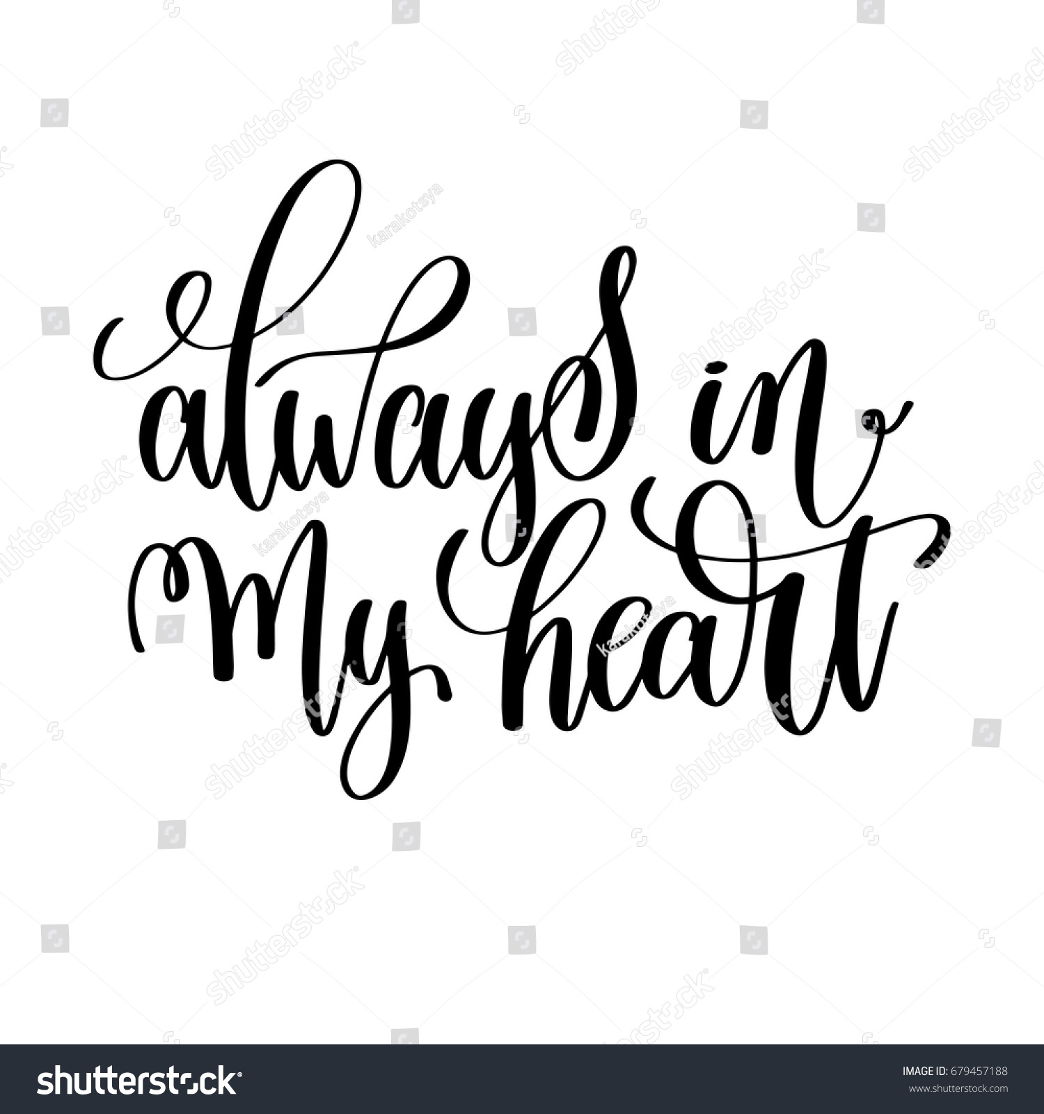 Always My Heart Black White Hand Stock Vector Royalty Free