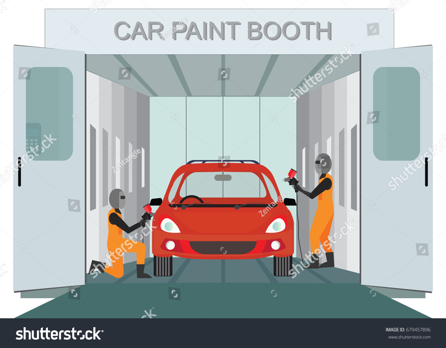Auto Mechanic Worker Painting New Car Stock Vector 679457896