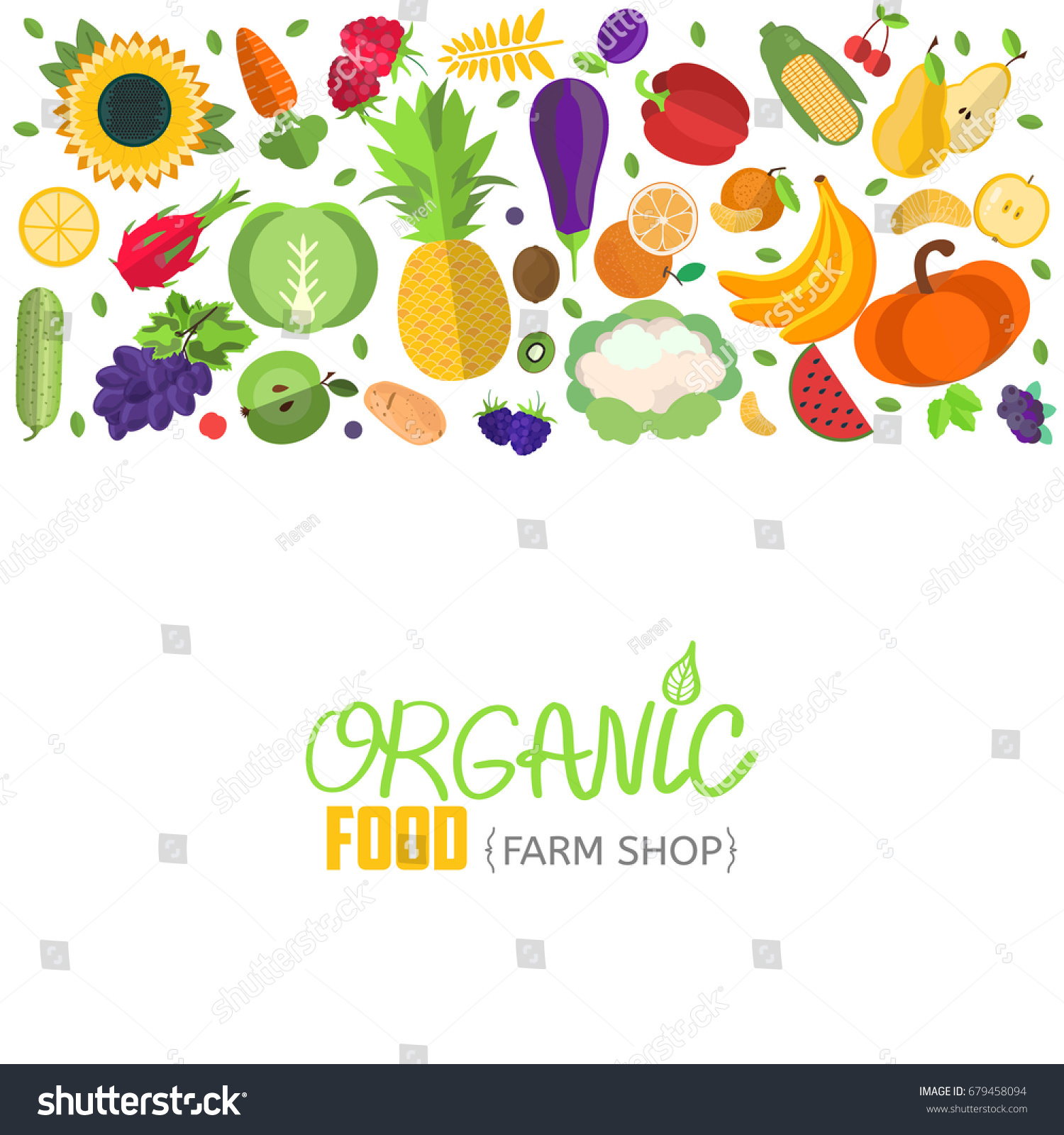vector vegetables fruits headerbanner fruit vegetable stock vector
