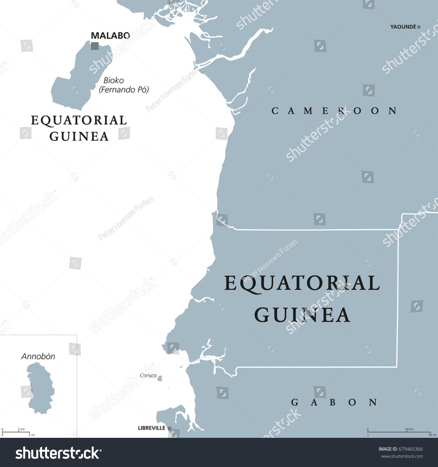 Equatorial Guinea Political Map Capital Malabo Stock Vector HD