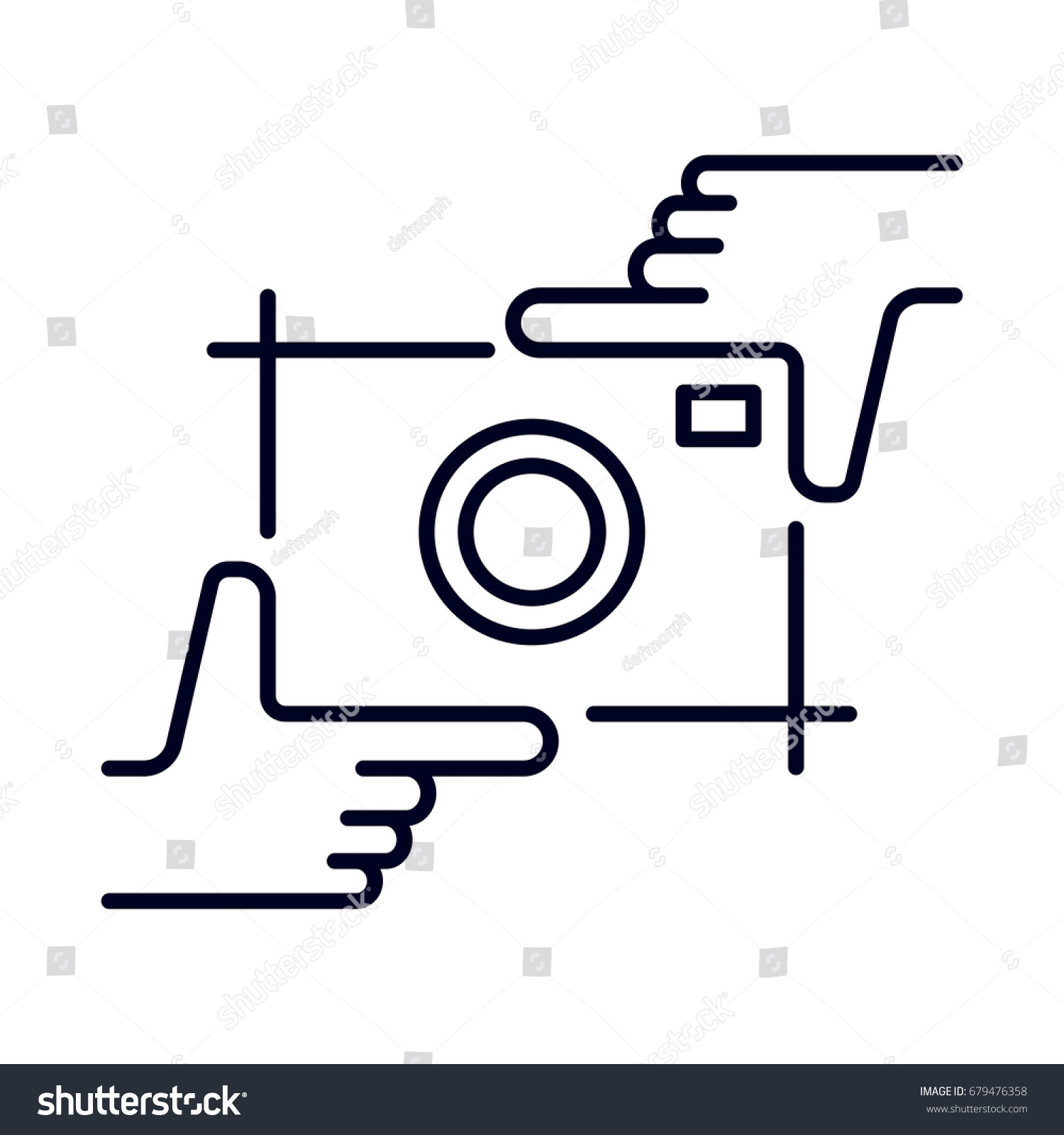 Hands Holding Photo Camera Shutter Photography And Studio Hand Drawn Logo Sketch Vector