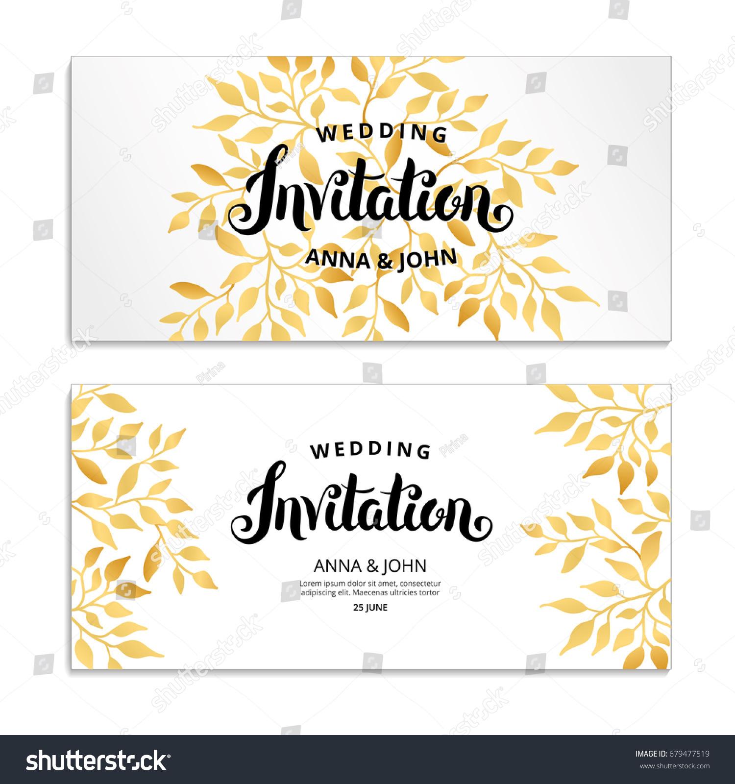 Gold Leaf Invitation Golden Leaf Frame Stock Vector 679477519