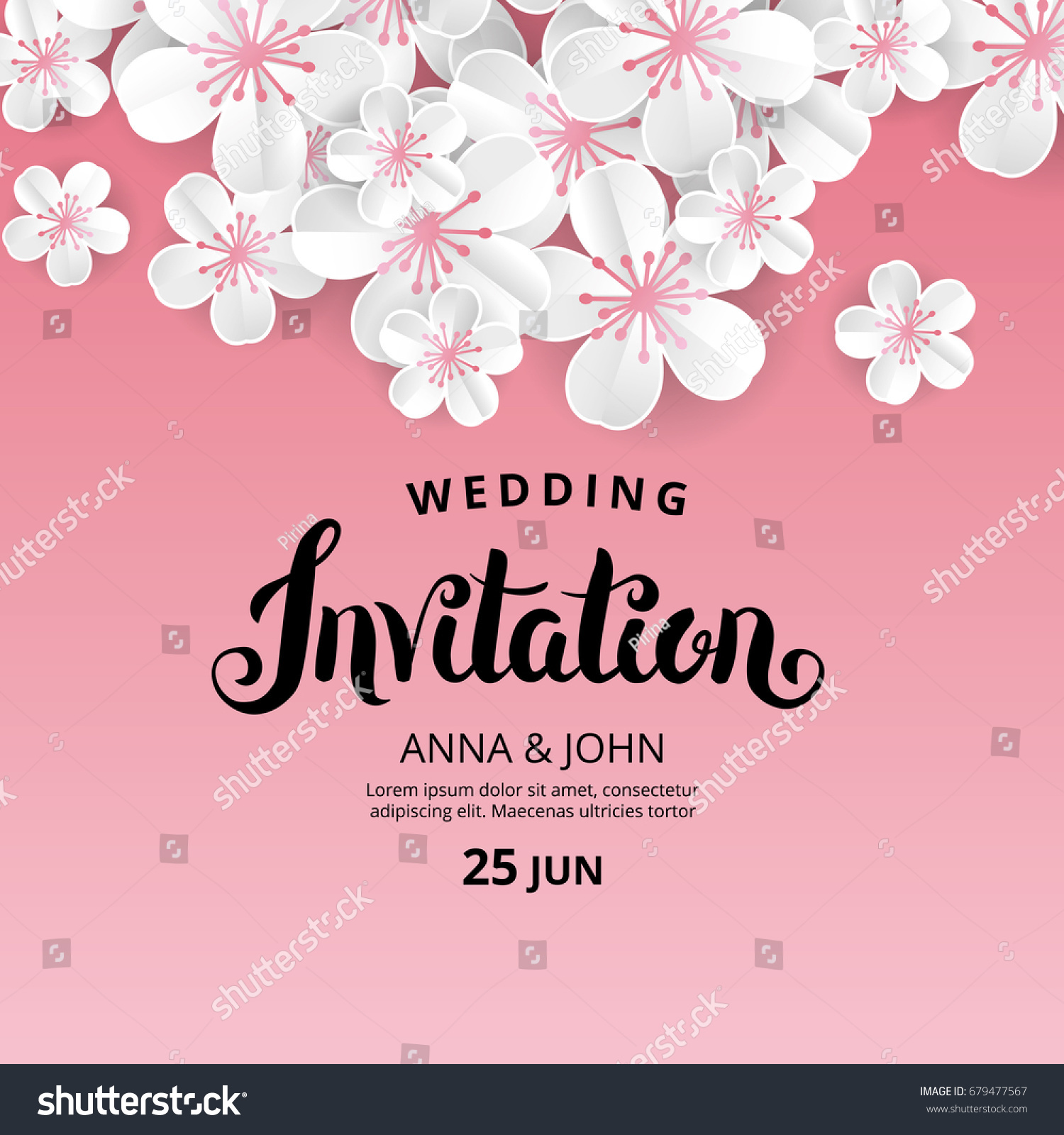 White Flowers Invitation Wedding Banner Paper Stock Vector Royalty Free 679477567